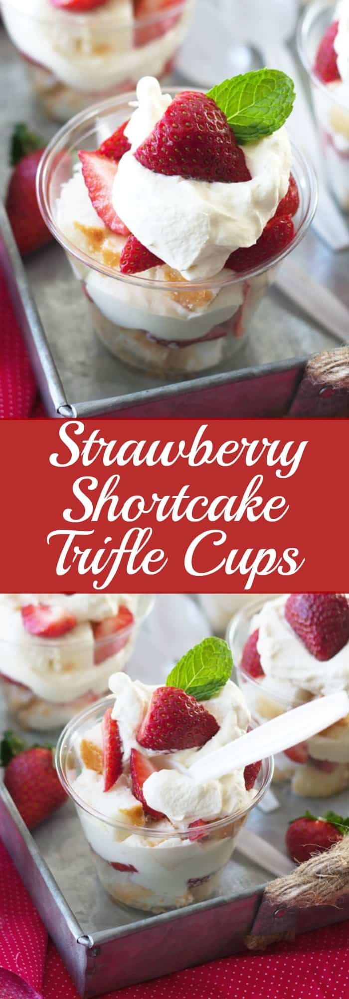 Strawberry Shortcake Trifle Cups -a quick and easy recipe for individual strawberry shortcakes! | www.countrysidecravings.com