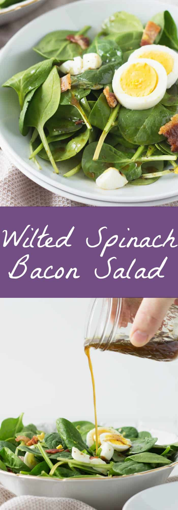 Wilted Bacon Spinach Salad -this super easy salad recipe is a great way to use up some extra boiled eggs! | www.countrysidecravings.com