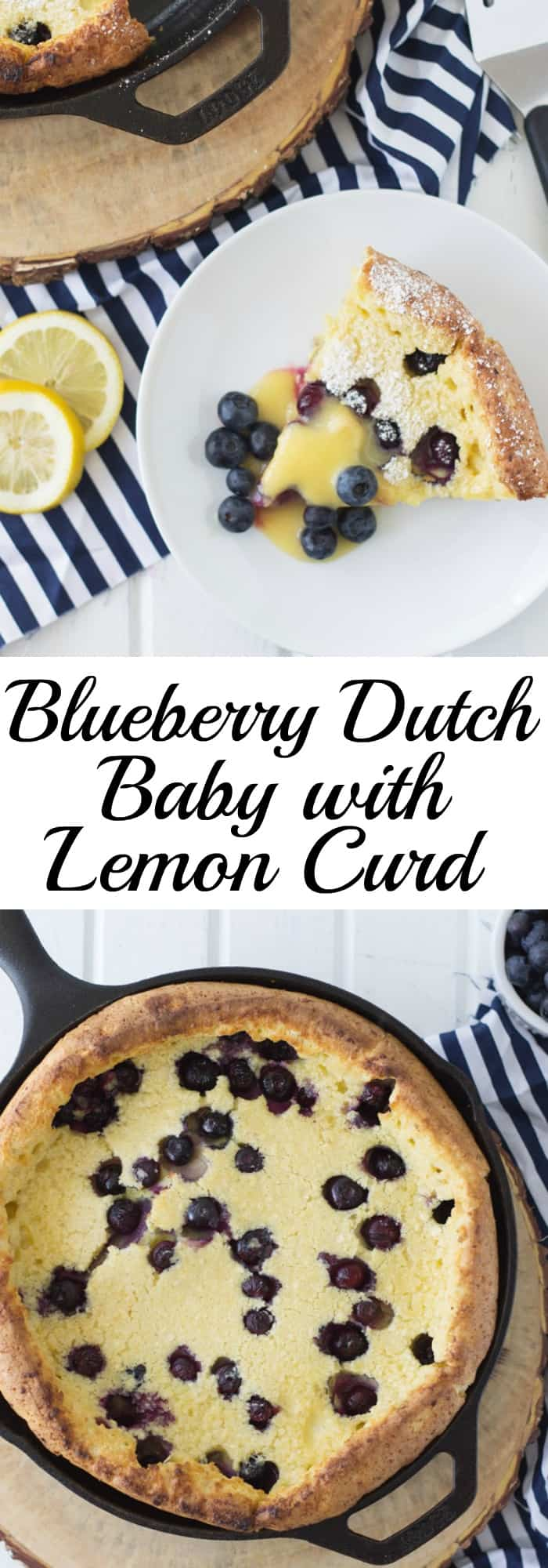 Blueberry Dutch Baby with Lemon Curd is an impressive yet very simple breakfast for any occasion! And topped with lemon curd just sends it over the top!! | www.countrysidecravings.com