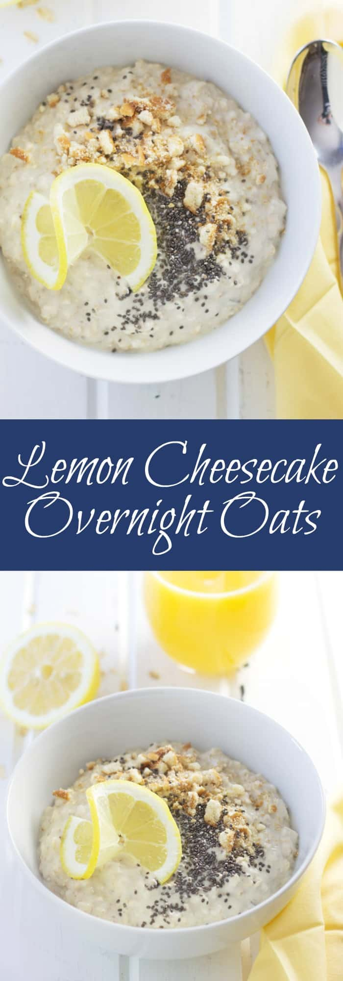 Lemon Cheesecake Overnight Oats are a great way to start off your morning! Quick, easy and satisfying! | www.countrysidecravings.com