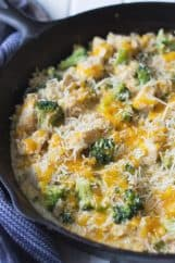 One Pot Chicken Broccoli and Rice -this easy 30 minute recipe is comfort food made fast! Tender chicken, broccoli cooked just right, fluffy rice and lots of melty cheese! | www.countrysidecravings.com