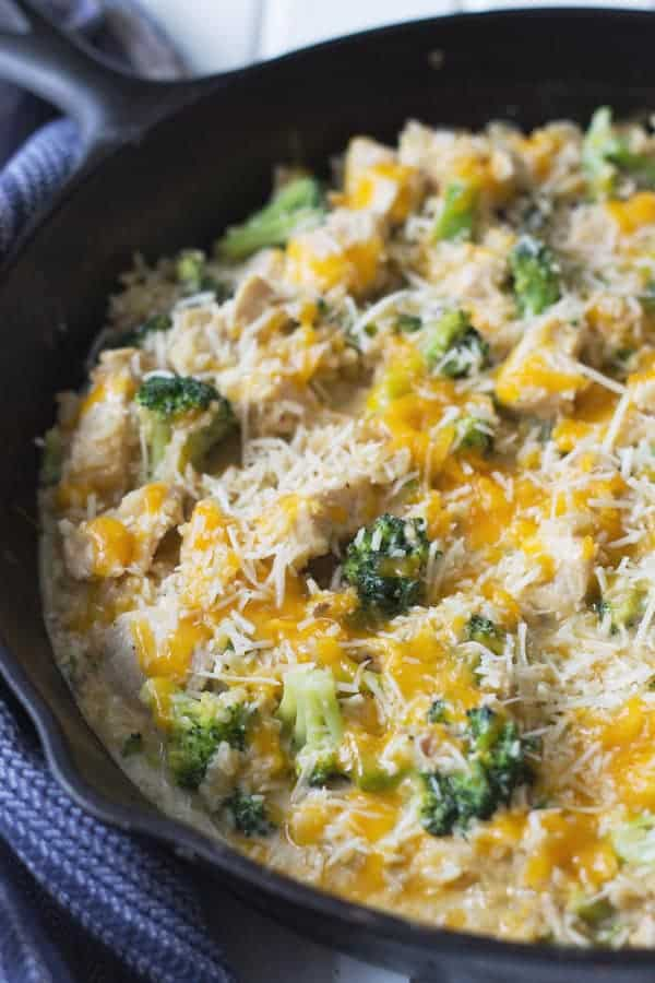 One Pot Chicken Broccoli and Rice -this easy 30 minute recipe is comfort food made fast! Tender chicken, broccoli cooked just right, fluffy rice and lots of melty cheese!   www.countrysidecravings.com