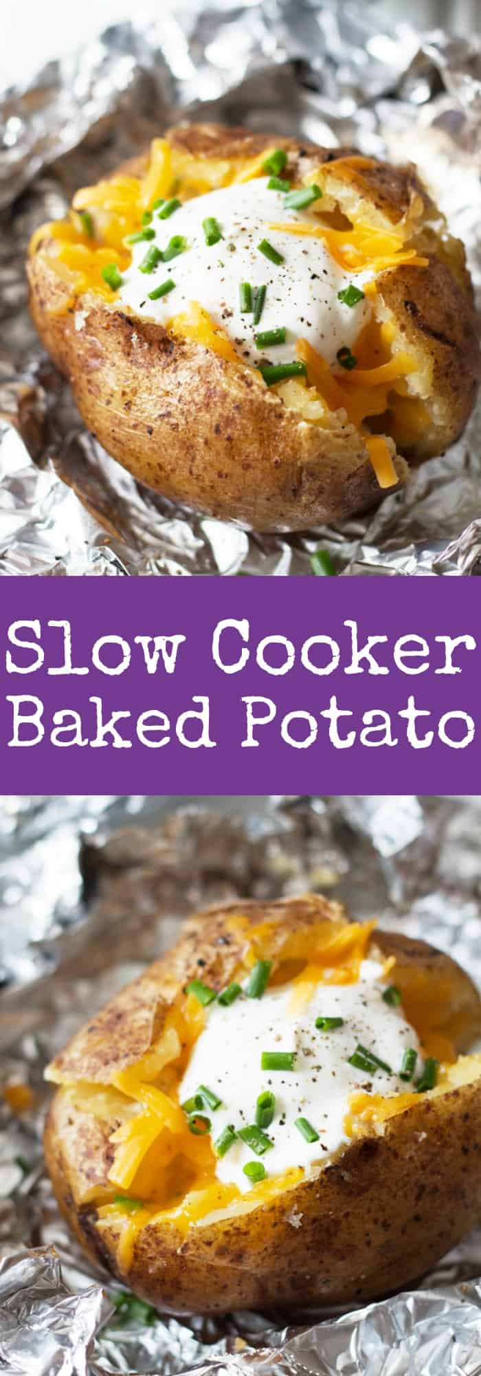 Slow Cooker Baked Potatoes - an easy way to come home to baked potatoes! | www.countrysidecravings.com