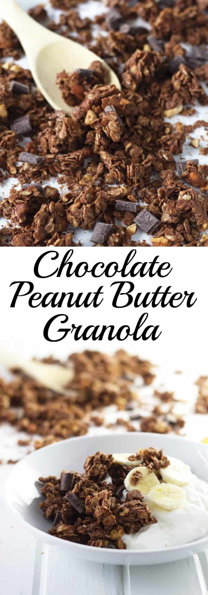 Chocolate Peanut Butter Granola that is super easy to make, great for snacking and it makes huge clusters!! | www.countrysidecravings.com