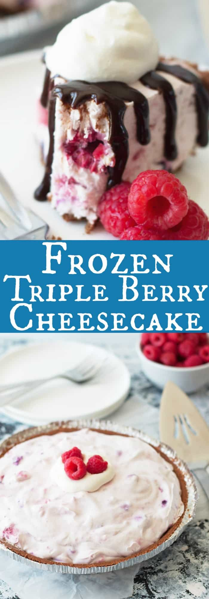 Easy to make, no bake, cool and creamy Frozen Triple Berry Cheesecake recipe. Perfect for cooling off this summer! | www.countrysidecravings.com