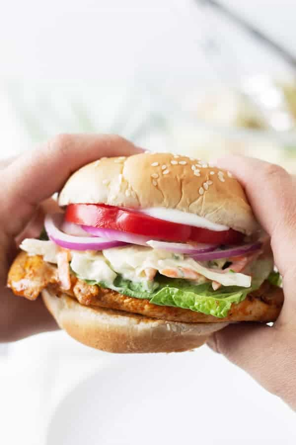 Grilled Buffalo Chicken Sandwich -a super easy recipe for juicy grilled chicken breast coated in a spicy buffalo sauce! | www.countrysidecravings..com