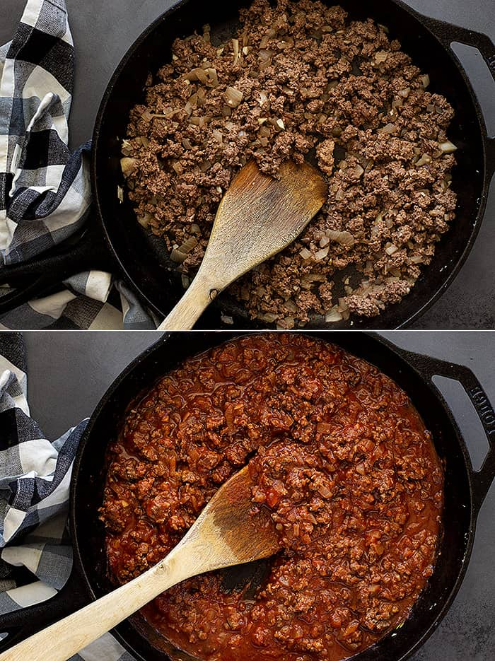Process shots of making sloppy joes.