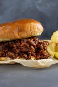 Close up of a sloppy joe.