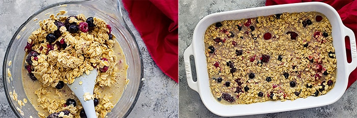 Pictures of baked oatmeal mixed in a bowl and spread in a 9x13 baking dish.