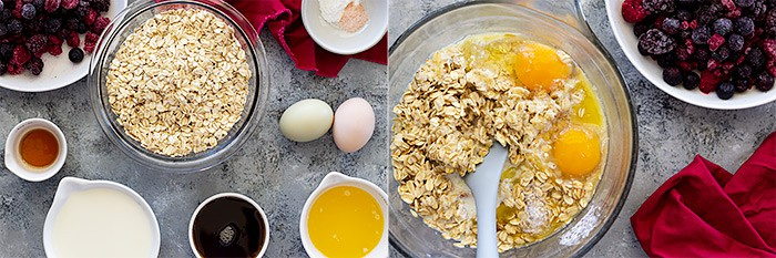 Pictures of ingredients and the ingredients all in a bowl ready to mix.