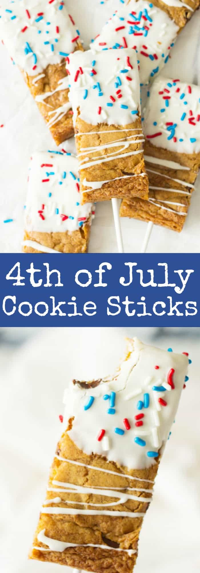 Fourth of July Cookie Sticks -a chewy chocolate chip cookie bar dipped in white chocolate then sprinkled with red, white and blue sprinkles! | www.countrysidecravings.com