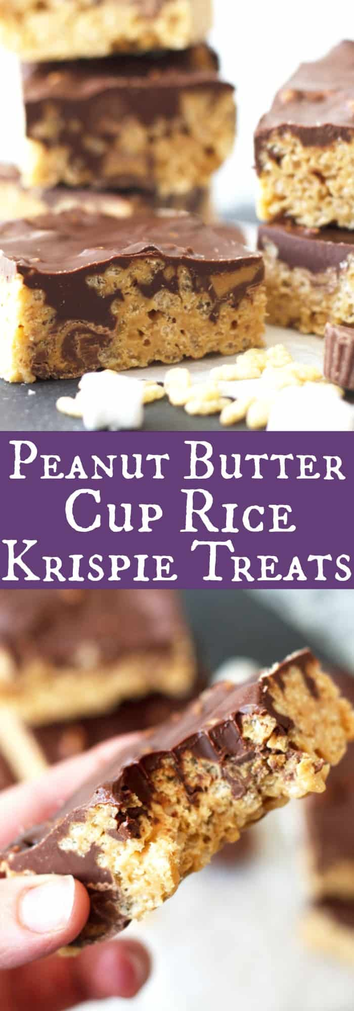 Peanut Butter Cup Rice Krispie Treats -peanut butter flavored rice krispies, studded with mini peanut butter cups, topped with a peanut butter chocolate topping! | www.countrysidecravings.com