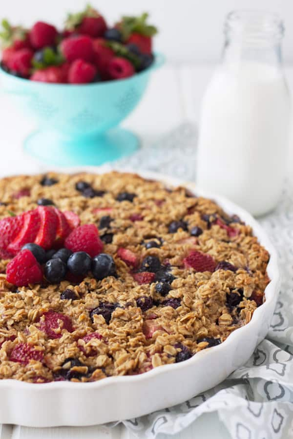 Triple Berry Baked Oatmeal is an easy and healthy way to start off the day. Full of fresh fruit and heart healthy oats!   www.countrysidecravings.com