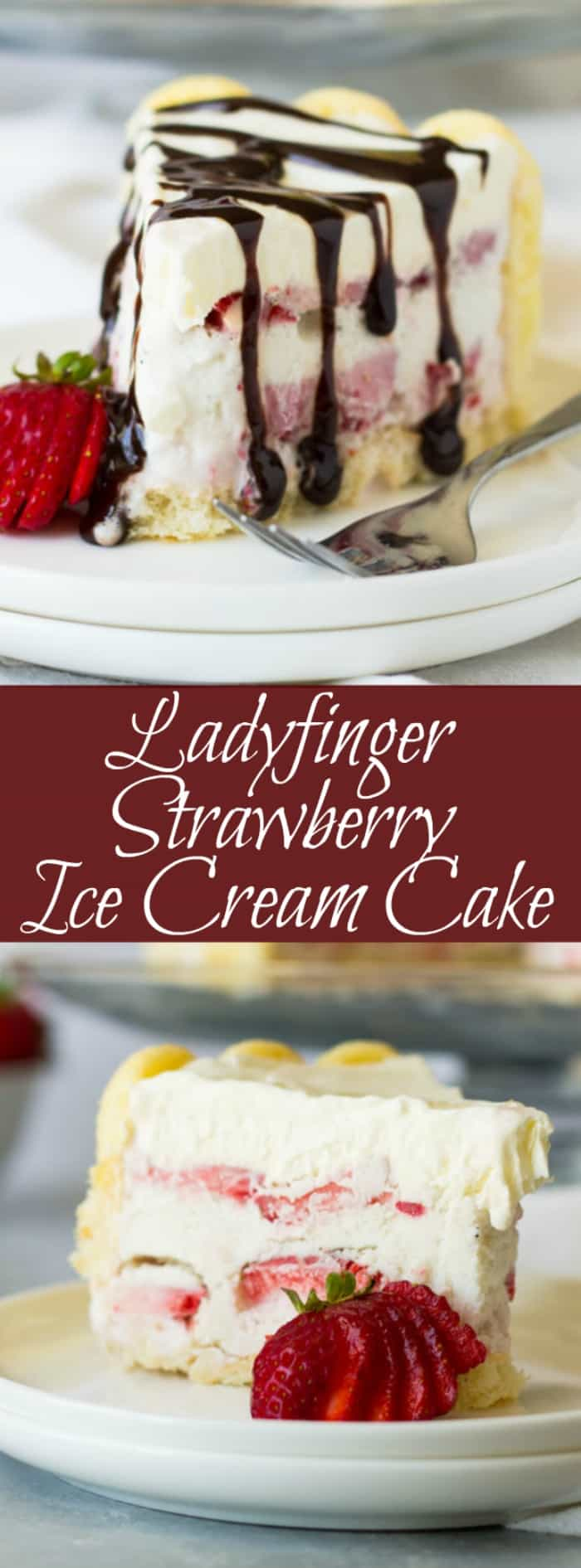 Ladyfinger Strawberry Ice Cream Cake -an easy and eye catching dessert. Layered with strawberry ice cream, luscious strawberries and topped with freshly whipped cream! | www.countrysidecravings.com