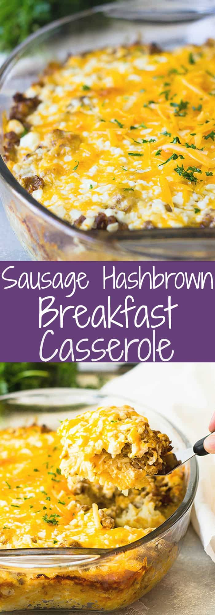 Sausage Hashbrown Breakfast Casserole recipe is super easy to put together. You can even make it the night before and bake it in the morning! | www.countrysidecravings.com