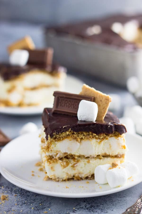 An easy S'mores Ice Box Cake recipe made with graham crackers ...