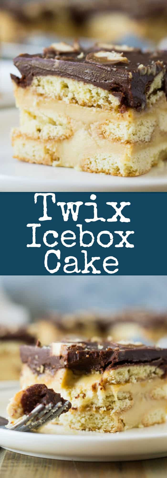 This Twix Icebox Cake is an easy and decadent no-bake cake. Made with homemade pudding, shortbread cookies, caramel and chocolate!   www.countrysidecravings.com