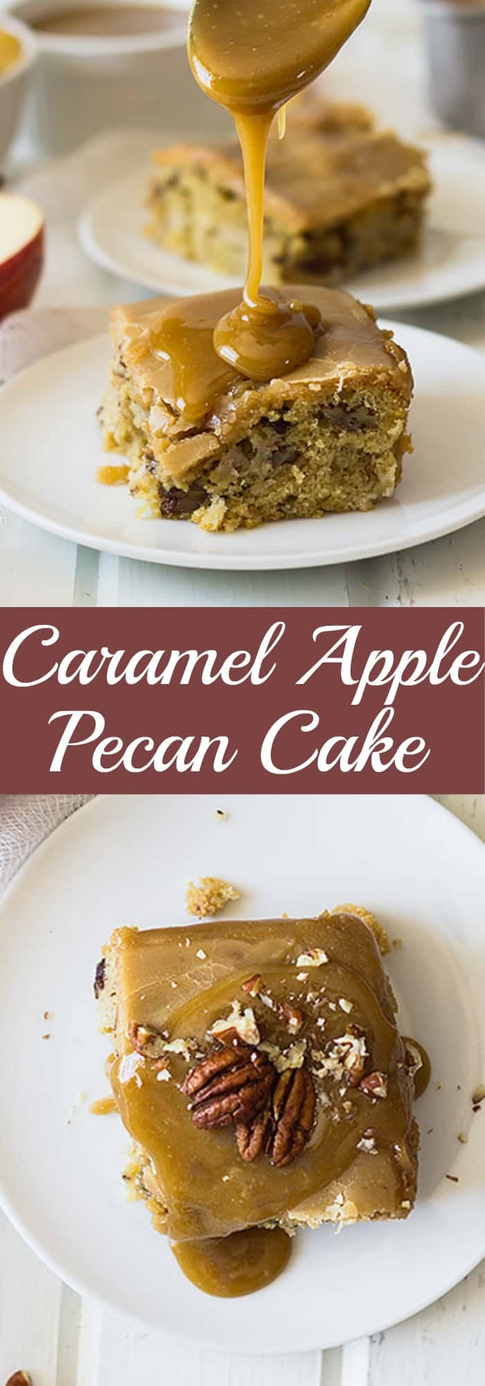 This Caramel Apple Pecan Cake is filled with tender apples, crunchy pecans and topped with a luscious caramel frosting! | www.countrysidecravings.com