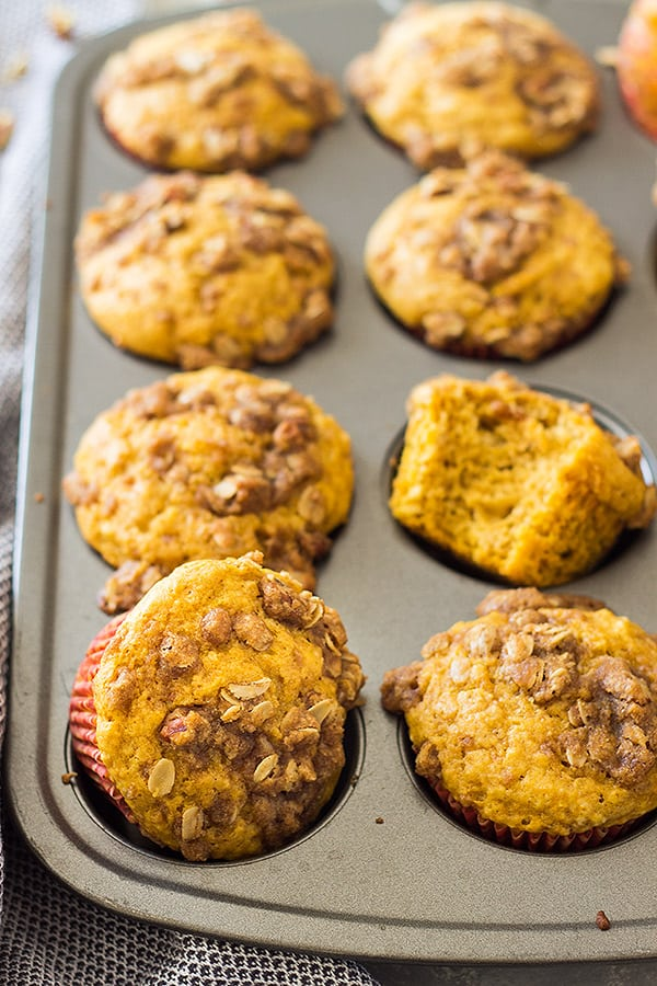 These Pumpkin Streusel Muffins are the perfect fall breakfast or snack! They are perfectly moist, full of pumpkin flavor, spiced perfectly and topped with a crunchy streusel topping! | www.countrysidecravings.com