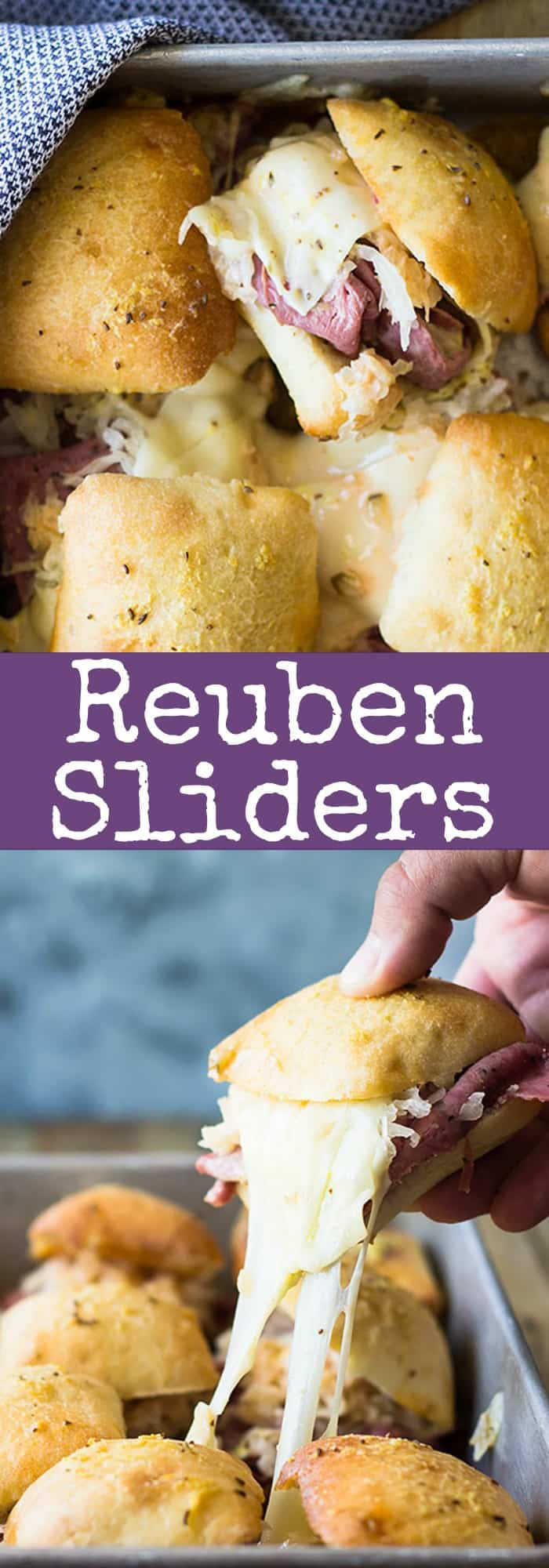 These easy Reuben Sliders make a great appetizer, snack or meal! Piled high with all the fixings they will definitely be a hit! | www.countrysidecravings.com