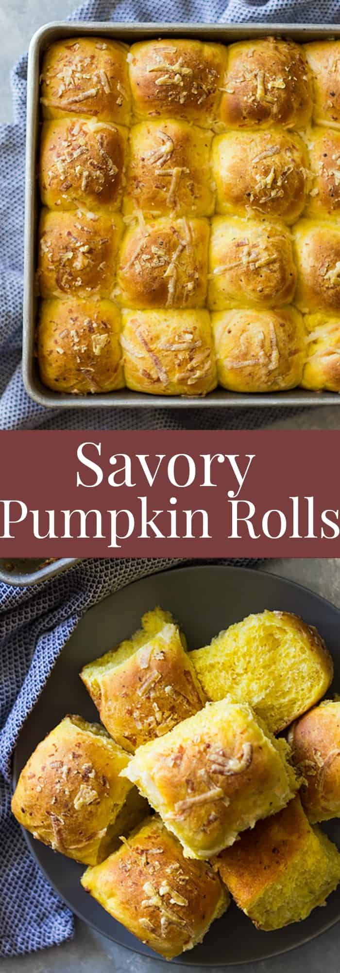 These Savory Pumpkin Rolls will be a great addition to your dinner table. Fluffy light biscuits made with pumpkin, rosemary and Parmesan cheese. | www.countrysidecravings.com