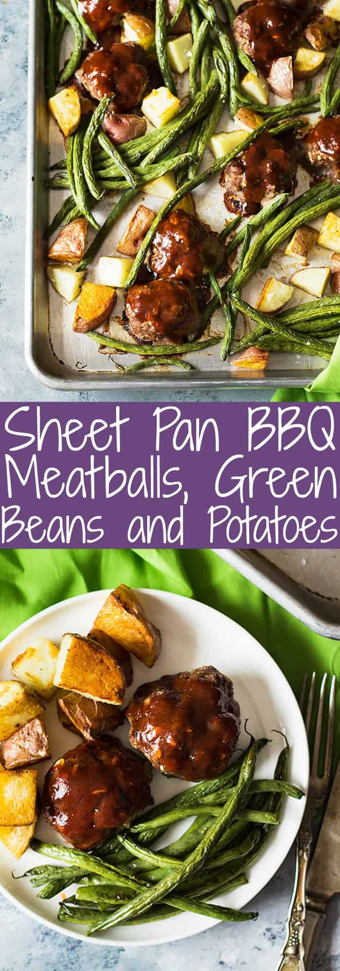 This Sheet Pan BBQ Meatballs Green Beans and Potatoes dinner is super easy, hearty and comforting!   www.countrysidecravings.com