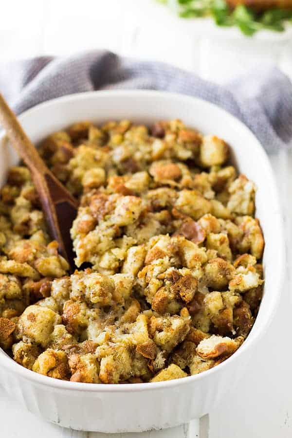 A savory Homemade Herb Stuffing that is perfect for the holidays