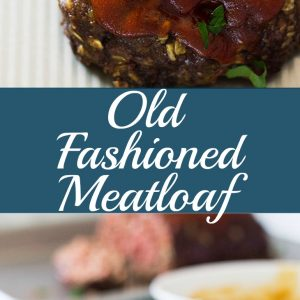 Whole meatloaf and sliced meatloaf on plate with text in between