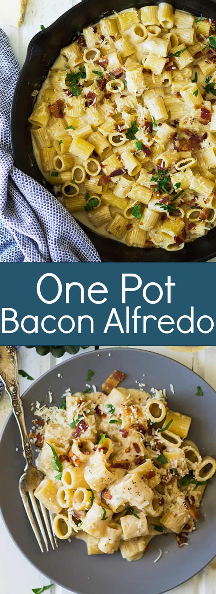 This One Pot Bacon Alfredo is a quick and easy weeknight meal that's full of flavor! | www.countrysidecravings.com