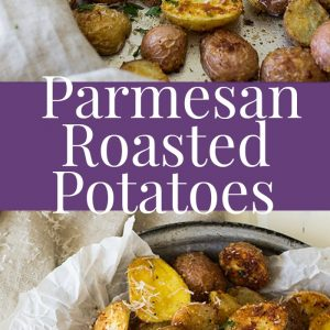 Two pictures of roasted potatoes divided by purple text overlay