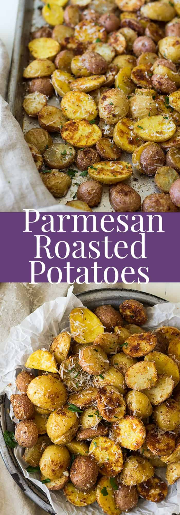 These Roasted Parmesan Potatoes are a perfect side dish for dinner. They are crispy on the outside and creamy on the inside. | www.countrysidecravings.com