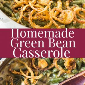 Green bean casserole in skillet with wooden spoon