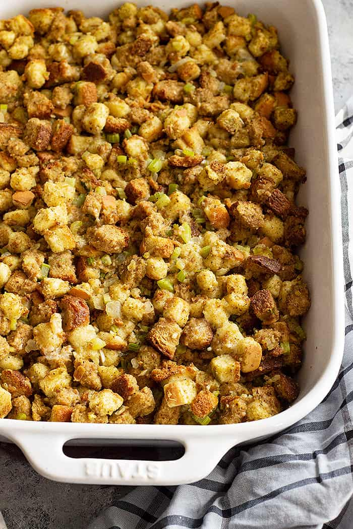 Classic stuffing fresh from the oven.