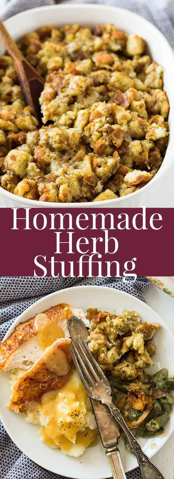 A savory Homemade Herb Stuffing that is perfect for the holidays! | www.countrysidecravings.com