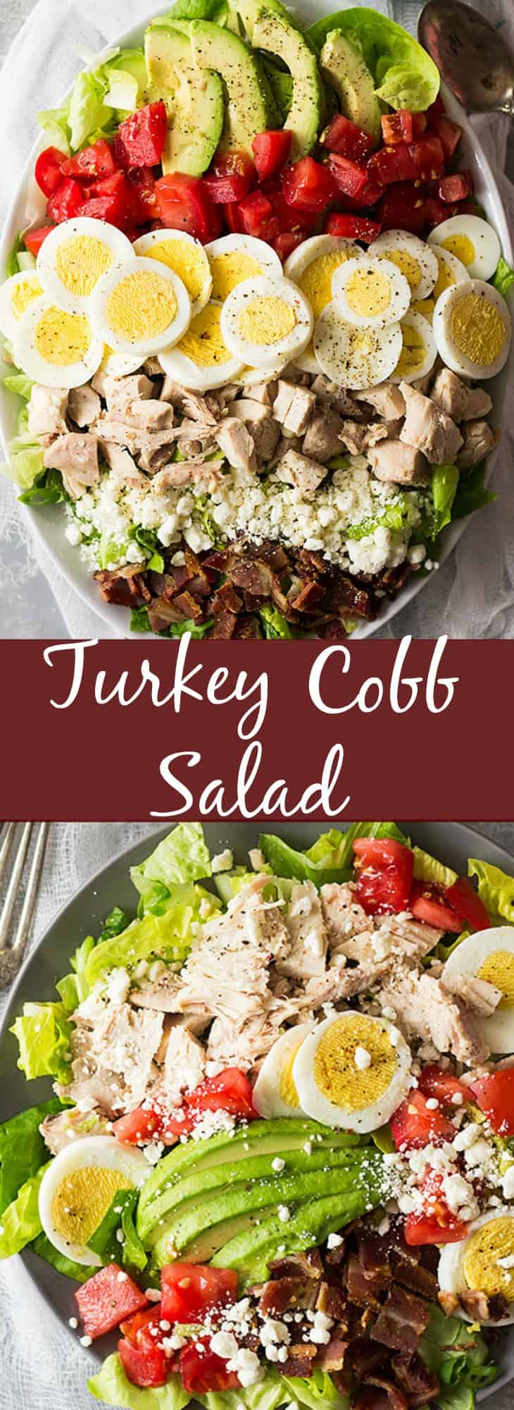 This Turkey Cobb Salad is a great main dish salad to use up some leftover turkey (or you can use chicken too)! It's healthy, full of flavor and will leave you begging for more! | www.countrysidecravings.com