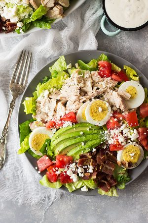 This Turkey Cobb Salad is a great main dish salad to use up some leftover turkey (or you can use chicken too)! It's healthy, full of flavor and will leave you begging for more!   www.countrysidecravings.com