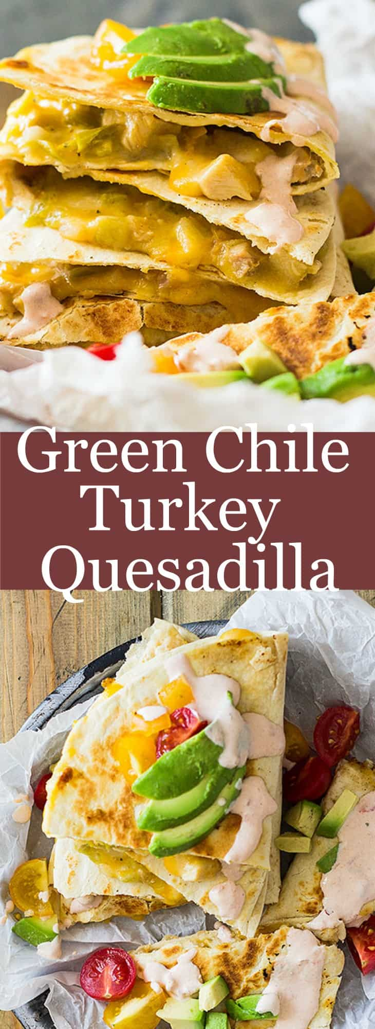 Use leftover turkey (or chicken) to make these Green Chile Turkey Quesadillas. Filled with gooey cheese, zesty green chilies and toasted in a crispy tortilla! | www.countrysidecravings.com