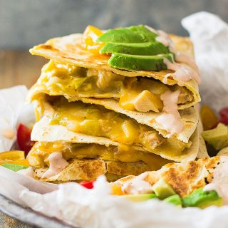 Green Chile Turkey Quesadillas