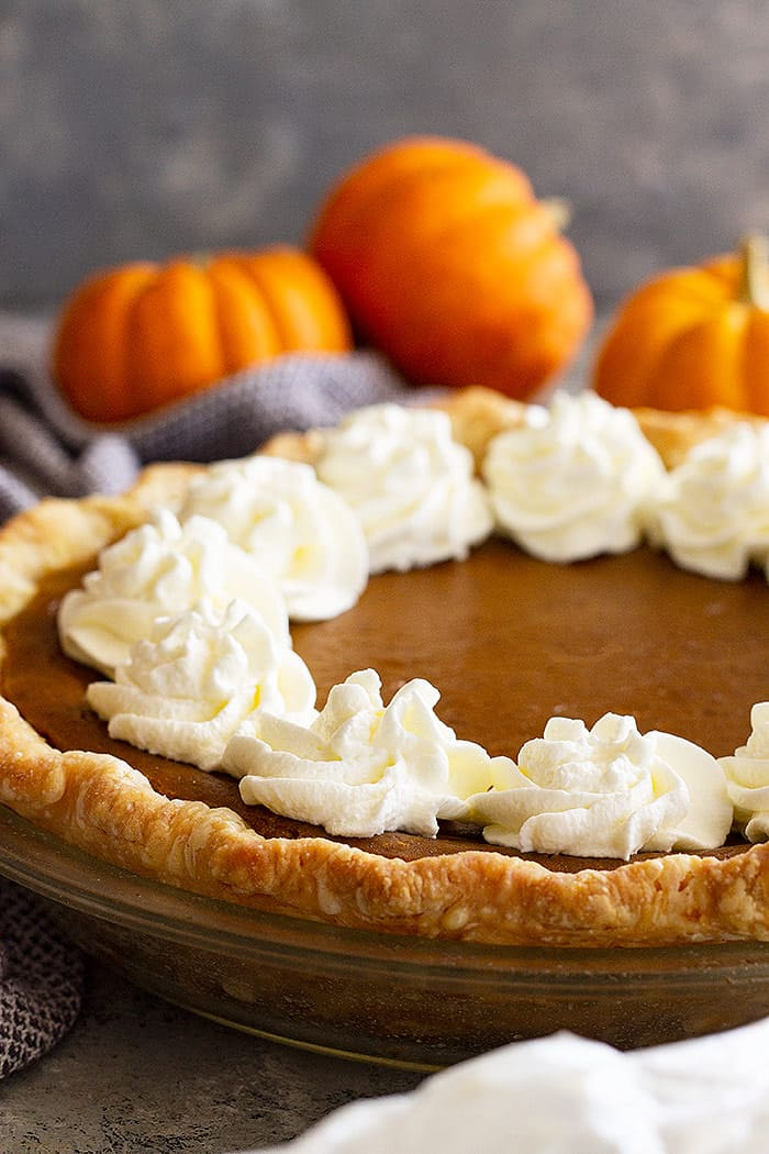 Traditional pumpkin pie that is decorated with whipped cream.