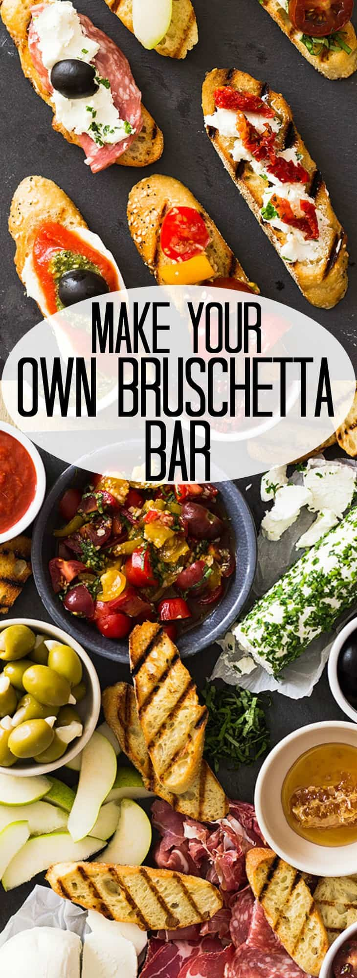 This Make Your Own Bruschetta Bar will be the star of the party. It's easy to put together and there are endless combinations to make! | www.countrysidecravings.com