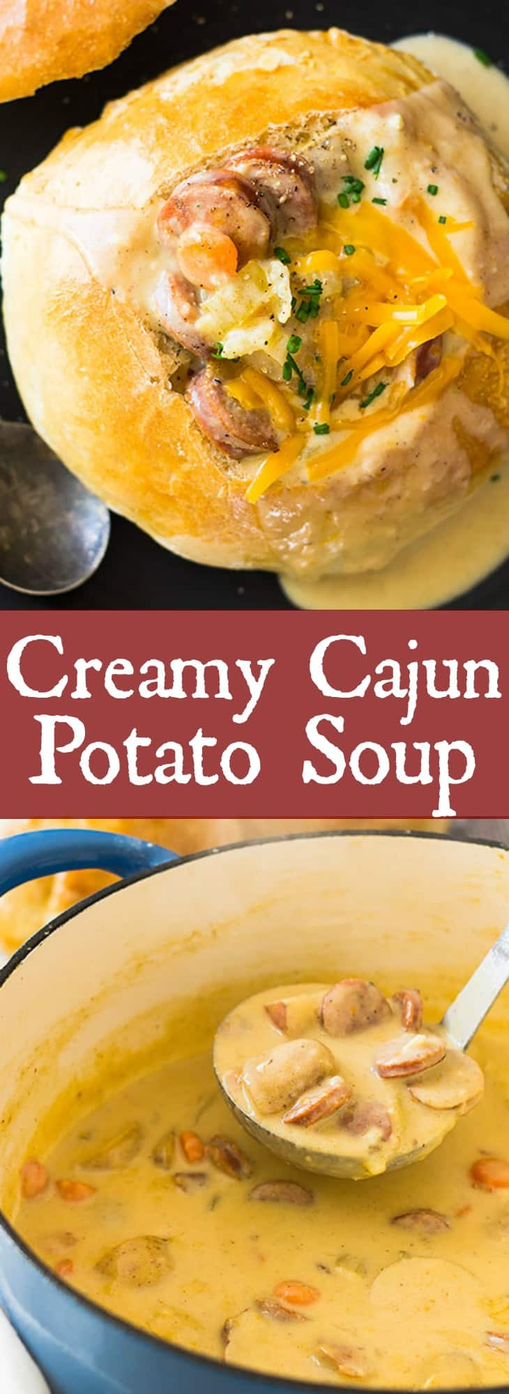 This Creamy Cajun Potato Soup is comfort food kicked up a notch. It's full of flavor, slightly spicy, rich and hearty! | www.countrysidecravings.com