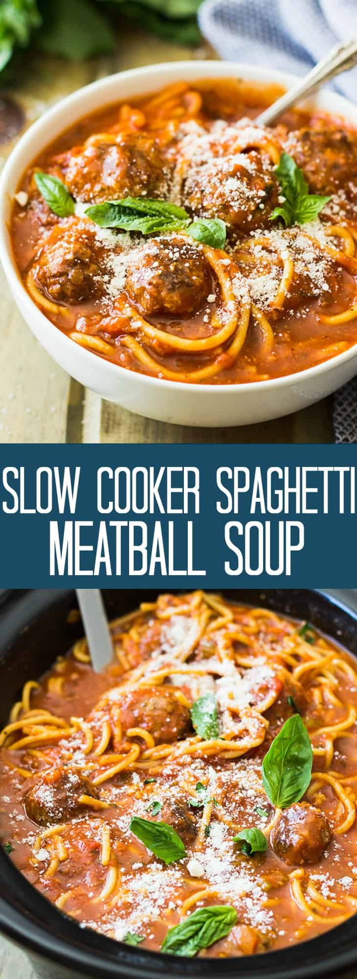 This Slow Cooker Spaghetti Meatball Soup is pure comfort food! A wonderful tomato soup filled with flavorful meatballs and tender spaghetti! | www.countrysidecravings.com