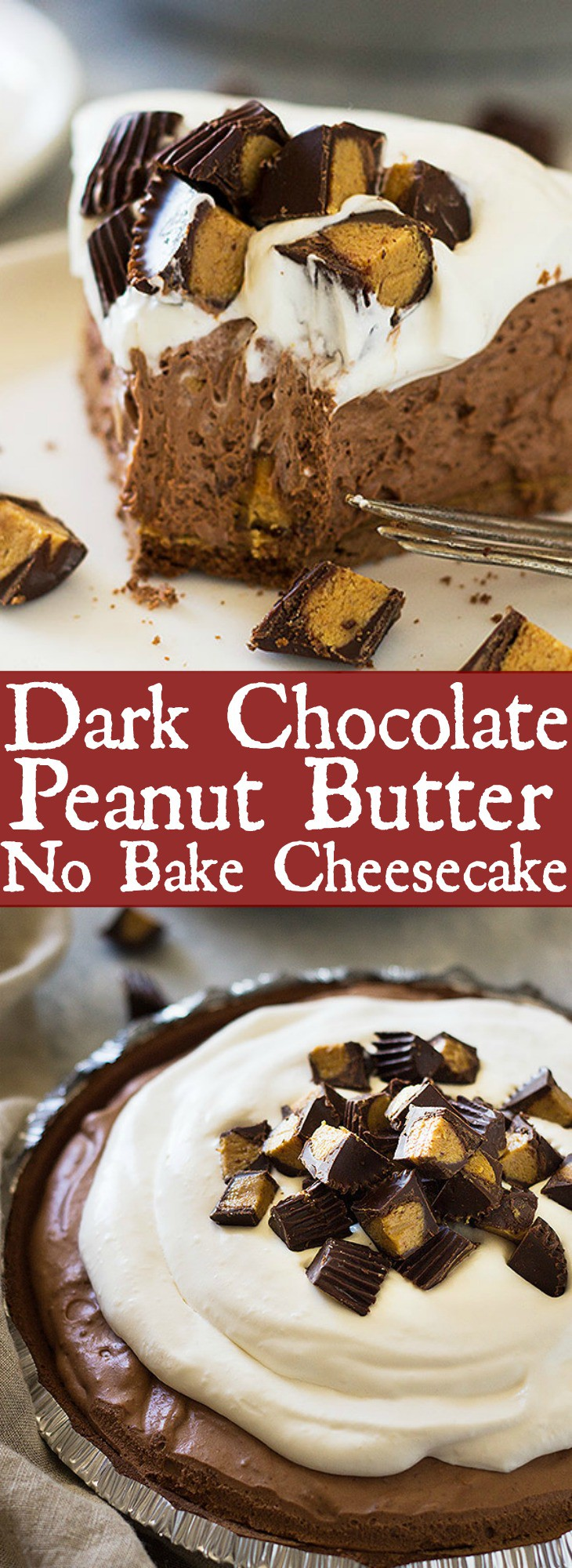 This Dark Chocolate Peanut Butter No Bake Cheesecake is rich, ultra creamy and decadent! | www.countrysidecravings.com