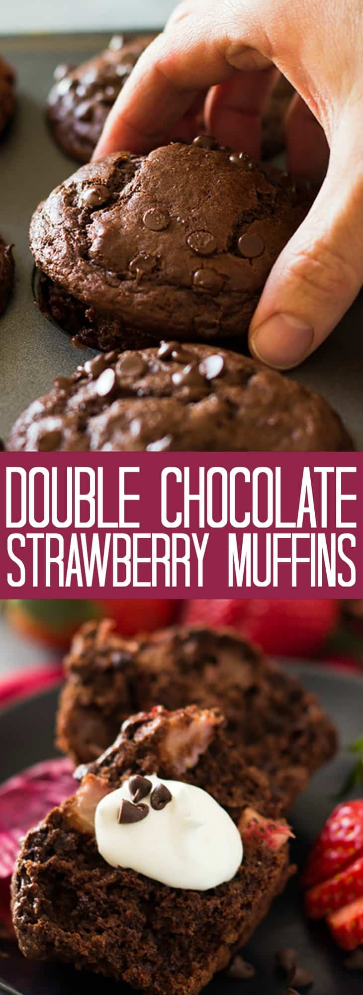 These Double Chocolate Strawberry Muffins are moist, tender, filled with strawberry chunks and oh so chocolatey!   www.countrysidecravings.com