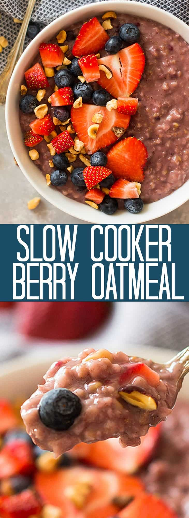 Slow Cooker Berry Oatmeal is a wonderfully hearty breakfast using steel cut oats, frozen mixed berries and your trusty crockpot! | www.countrysidecravings.com
