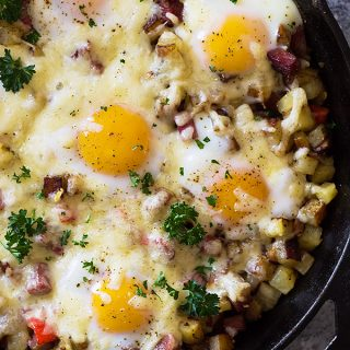 Cheesy Corned Beef Hash with Baked Eggs