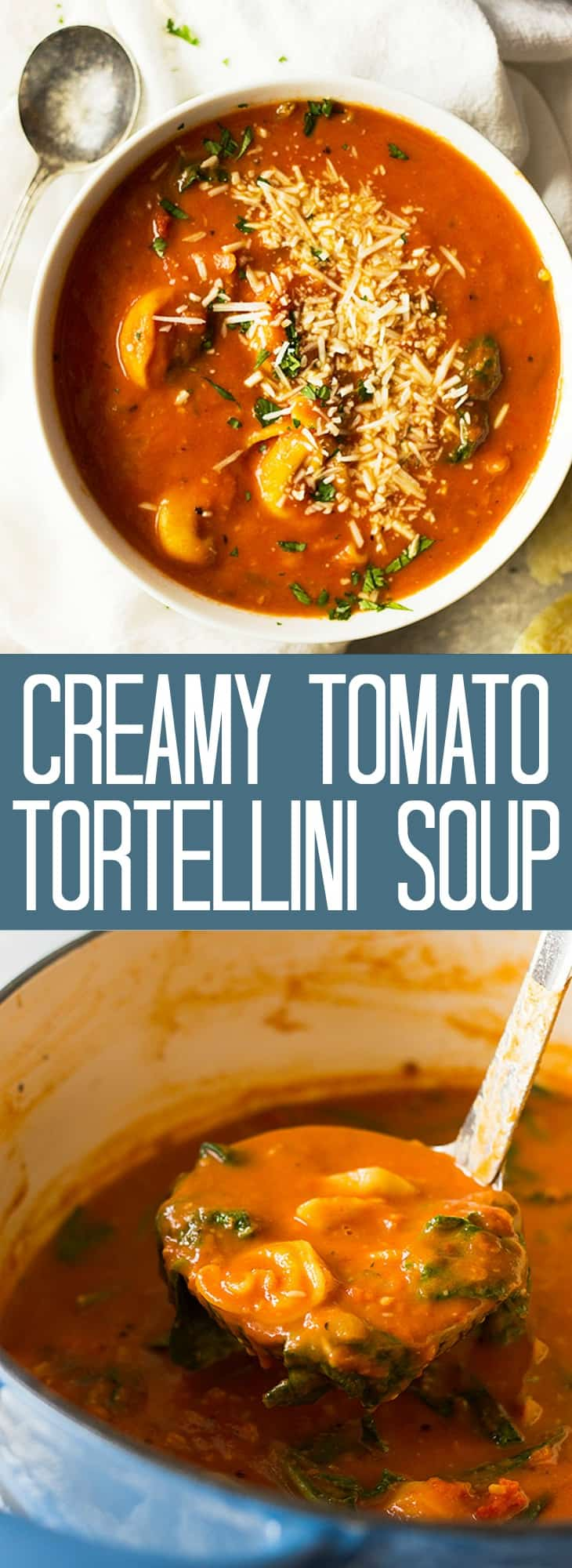This Creamy Tomato Tortellini Soup is super easy and extra delicious! Filled with cheesy tortellini, tomatoes, herbs and a touch of cream! | www.countrysidecravings.com