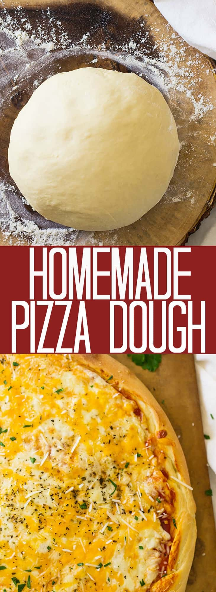 This Homemade Pizza Dough will give you a nice thick and chewy crust. It is a great basic pizza dough! | www.countrysidecravings.com