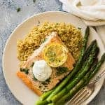 This Simple Sheet Pan Salmon and Asparagus is dinner made on one sheet pan and on your table in 20 minutes! | www.countrysidecravings.com