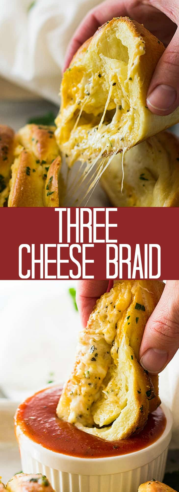 This Three Cheese Braid is filled with lots of ooey gooey cheese all wrapped inside of a homemade pizza dough! Then brushed with melted butter and garlic!! Perfect for appetizers, along side any meal or just for snacking!